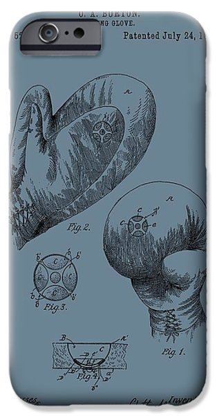 Punching Digital iPhone Cases - Antique Boxing Gloves Patent iPhone Case by Dan Sproul