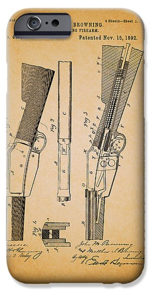 Weapon Drawings iPhone Cases - Antique Browning Breech Loading Rifle 1892 iPhone Case by Mountain Dreams