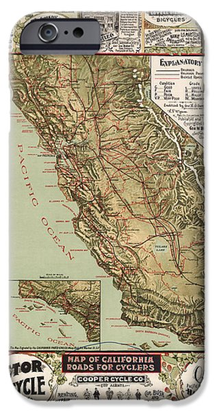 Antiques iPhone Cases - Antique California Bicycle Trails iPhone Case by Gary Grayson