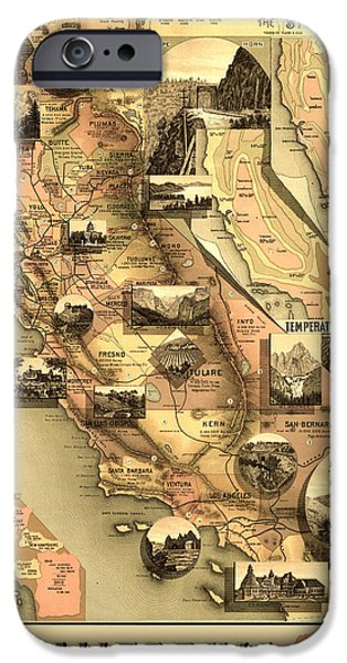 Antiques iPhone Cases - Antique California Map iPhone Case by Gary Grayson