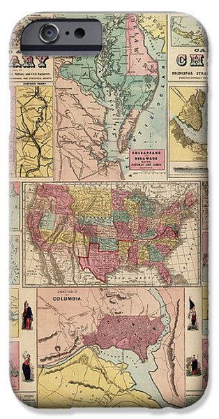 Art Mobile iPhone Cases - Antique Civil War Map by Egbert L. Viele - circa 1861 iPhone Case by Blue Monocle