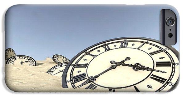 Strange iPhone Cases - Antique Clocks In Desert Sand iPhone Case by Allan Swart