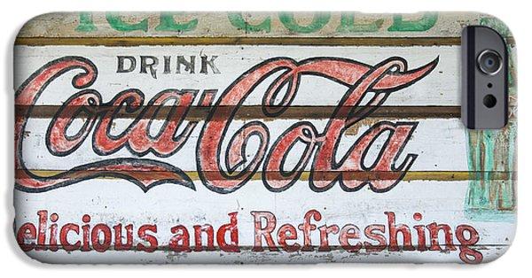 Coca-cola Signs iPhone Cases - Antique Coca Cola Sign  iPhone Case by Chris Flees