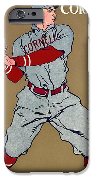 Baseball Uniform Drawings iPhone Cases - Antique Cornell Baseball Poster 1908 iPhone Case by Mountain Dreams