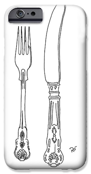 Stainless Steel Frame iPhone Cases - Antique Cutlery Duo iPhone Case by Roisin O Farrell