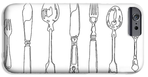 Stainless Steel Frame iPhone Cases - Antique Cutlery Full House iPhone Case by Roisin O Farrell
