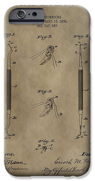 Dentist Drawings iPhone Cases - Antique Dental Excavator Patent iPhone Case by Dan Sproul