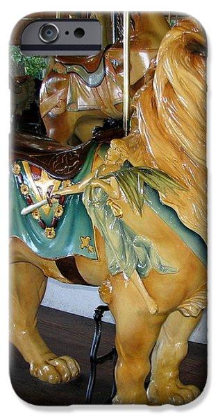 Antique Dentzel Menagerie Carousel Lion iPhone Case by Rose Santuci-Sofranko