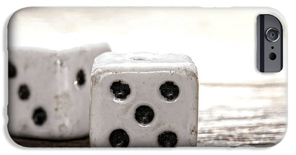 Chance iPhone Cases - Antique Dice iPhone Case by Olivier Le Queinec