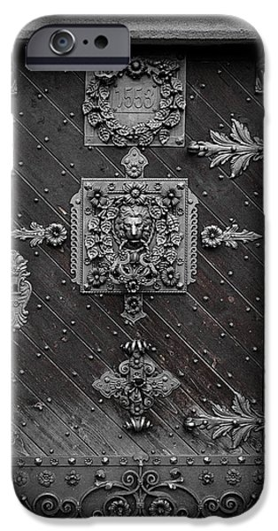 Budejovice iPhone Cases - Antique doors in Budweis iPhone Case by Christine Till