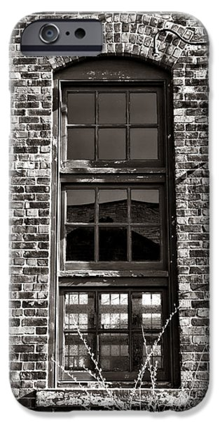 Abandoned Buildings iPhone Cases - Antique Factory Window iPhone Case by Olivier Le Queinec
