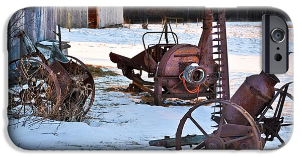 Agricultural iPhone Cases - Antique Farm Equipment iPhone Case by Gary Keesler