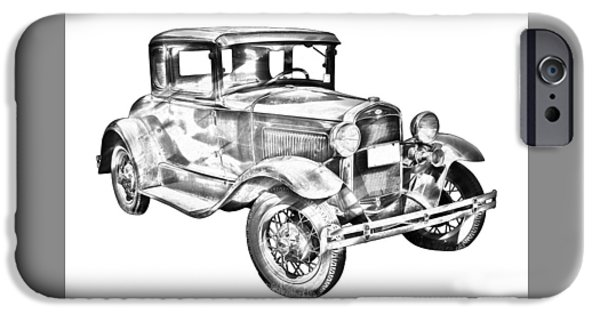 Model Digital Art iPhone Cases - Antique Ford Molel A Illustration iPhone Case by Keith Webber Jr