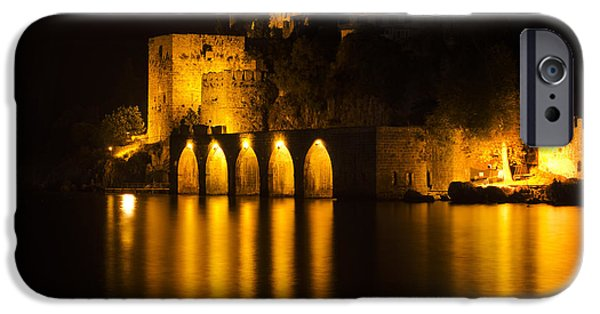 Beach Pyrography iPhone Cases - Antique Fortress in Alanya at Night iPhone Case by Jelena Jovanovic