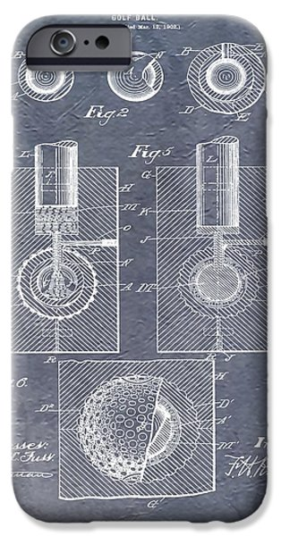 Professional Golf iPhone Cases - Antique Golf Ball Patent iPhone Case by Dan Sproul