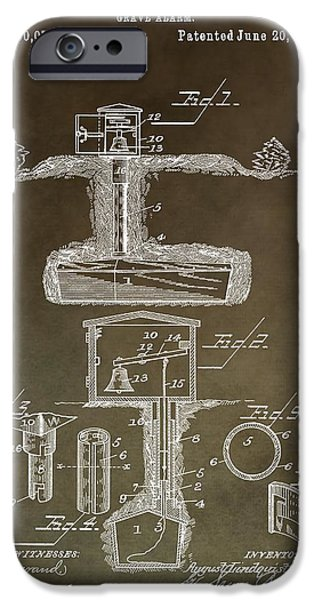 Haunted House iPhone Cases - Antique Grave Alarm Patent iPhone Case by Dan Sproul