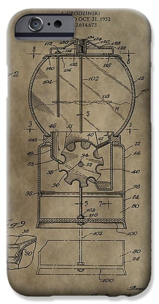 Toy Store Mixed Media iPhone Cases - Antique Gumball Machine Patent iPhone Case by Dan Sproul