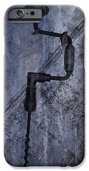 Work Tool iPhone Cases - Antique Hand Drill iPhone Case by Dan Sproul