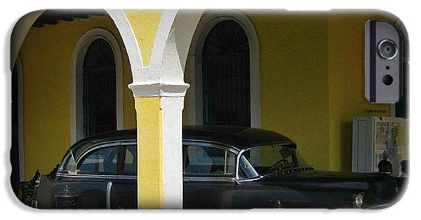 Cemetary iPhone Cases - Antique Hearse in Havana Cemetary iPhone Case by John Malone