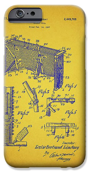 Hockey Drawings iPhone Cases - Antique Hockey Goal Patent iPhone Case by Mountain Dreams