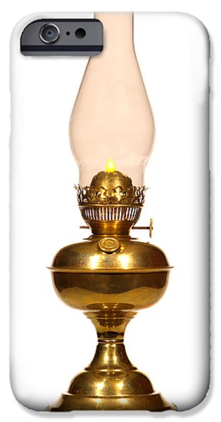 Hurricane Lamp iPhone Cases - Antique Hurricane Lamp iPhone Case by Olivier Le Queinec