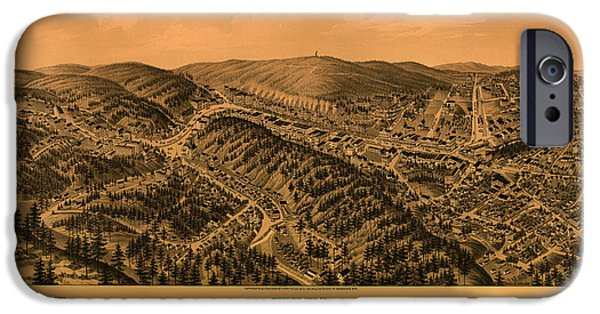 Arkansas Drawings iPhone Cases - Antique Illustrative Map of Hot Springs Arkansas 1888 iPhone Case by Mountain Dreams