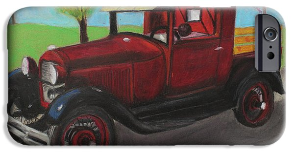 Vintage Car Pastels iPhone Cases - Antique iPhone Case by Jeanne Fischer