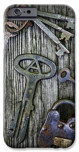 Antique Keys and Padlock iPhone Case by Paul Ward