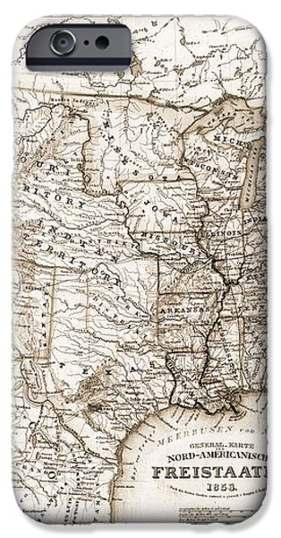 Antique Map 1853 United States Of America iPhone Case by Dan Sproul
