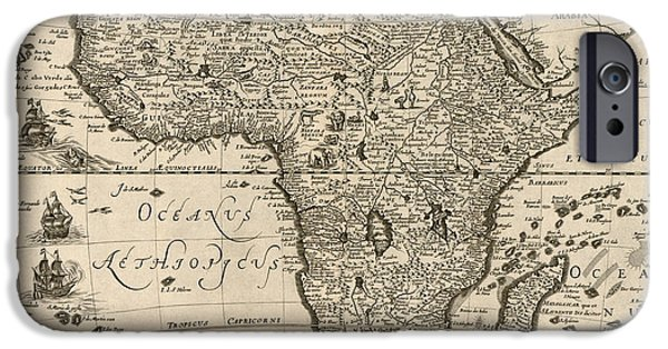 Recently Sold -  - Antiques iPhone Cases - Antique Map of Africa by Jodocus Hondius - circa 1640 iPhone Case by Blue Monocle