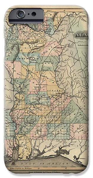 Alabama iPhone Cases - Antique Map of Alabama by Fielding Lucas - 1826 iPhone Case by Blue Monocle