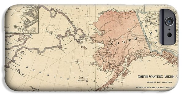 U.s. iPhone Cases - Antique Map of Alaska - 1867 iPhone Case by Blue Monocle