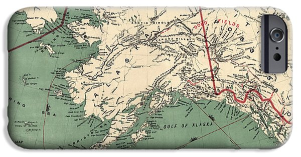 Alaska iPhone Cases - Antique Map of Alaska by J. J. Millroy - 1897 iPhone Case by Blue Monocle