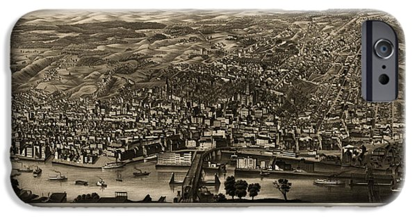 Old And New iPhone Cases - Antique Map of Albany New York by H.H. Rowley and Co. - 1879 iPhone Case by Blue Monocle