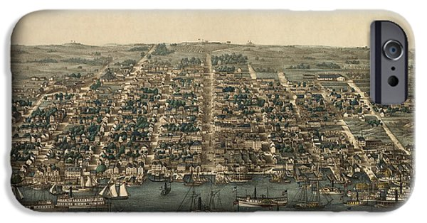 Alexandria iPhone Cases - Antique Map of Alexandria Virginia by Charles Magnus - 1863 iPhone Case by Blue Monocle