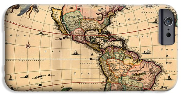 North Sea Drawings iPhone Cases - Antique Map of America 1670 iPhone Case by Mountain Dreams