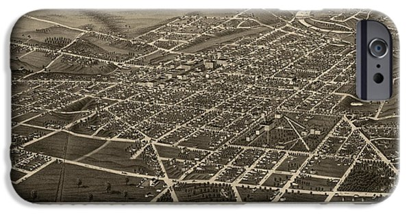 Arbor iPhone Cases - Antique Map of Ann Arbor Michigan by A. Ruger - 1880 iPhone Case by Blue Monocle