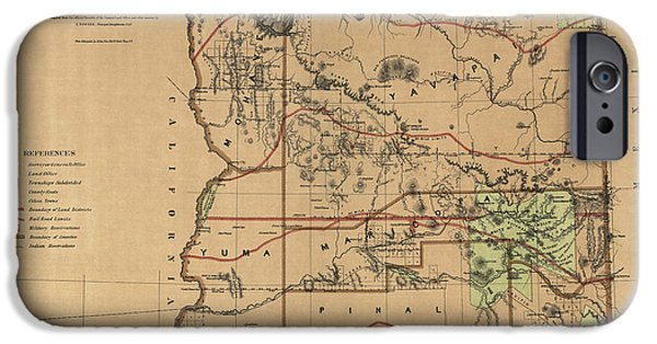Office Drawings iPhone Cases - Antique Map of Arizona by the U.S. General Land Office - 1876 iPhone Case by Blue Monocle