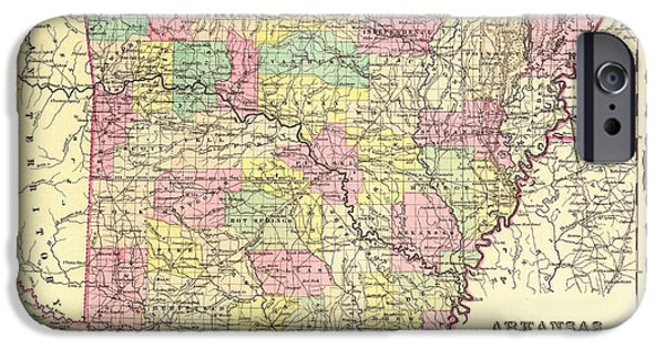 Arkansas Drawings iPhone Cases - Antique Map of Arkansas 1855 iPhone Case by Mountain Dreams