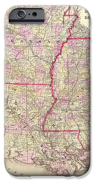 Arkansas Drawings iPhone Cases - Antique Map of Arkansas Mississippi and Louisiana iPhone Case by Mountain Dreams