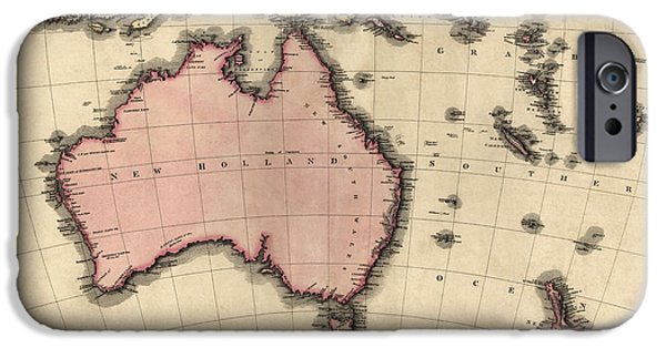 Australia Drawings iPhone Cases - Antique Map of Australia and the Pacific Islands by John Pinkerton - 1818 iPhone Case by Blue Monocle