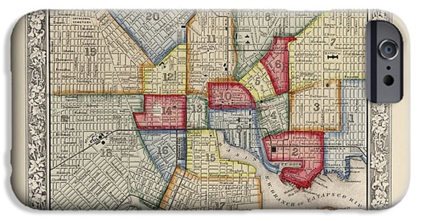 Baltimore iPhone Cases - Antique Map of Baltimore Maryland by Samuel Augustus Mitchell - 1863 iPhone Case by Blue Monocle