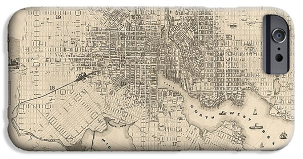 Recently Sold -  - Antiques iPhone Cases - Antique Map of Baltimore Maryland by Sidney and Neff - 1851 iPhone Case by Blue Monocle