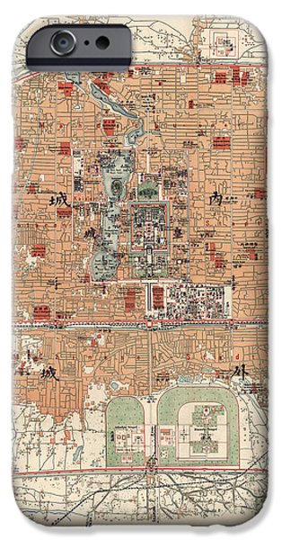 Deutsch iPhone Cases - Antique Map of Beijing China - 1914 iPhone Case by Blue Monocle