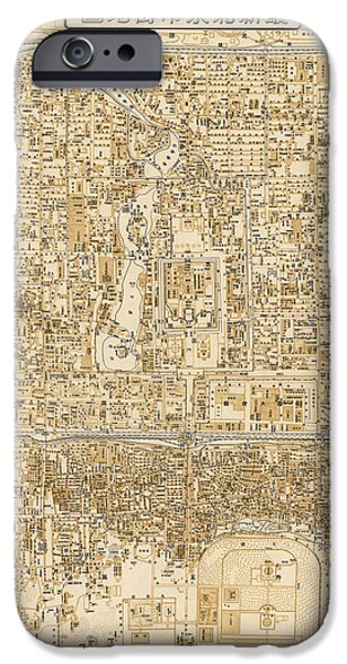 Beijing iPhone Cases - Antique Map of Beijing China - 1938 iPhone Case by Blue Monocle
