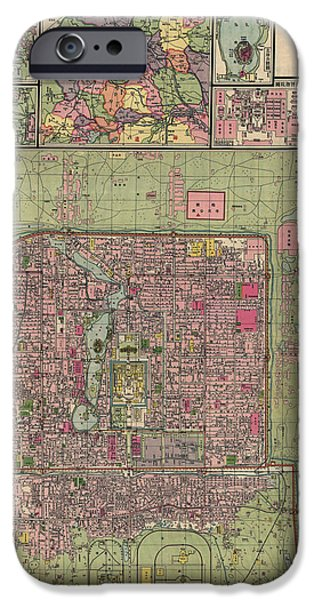 Beijing iPhone Cases - Antique Map of Beijing China by Jiarong Su - 1921 iPhone Case by Blue Monocle