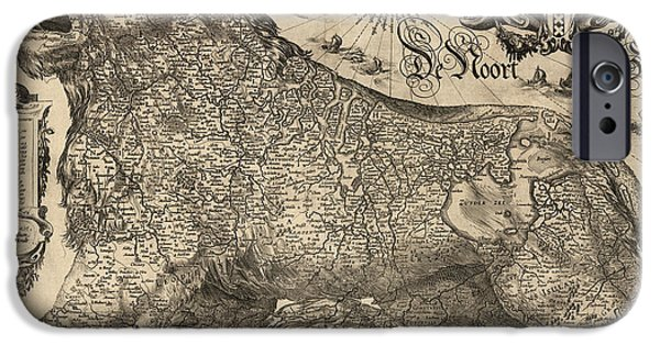 Belgium iPhone Cases - Antique Map of Belgium and the Netherlands by Jodocus Hondius - 1611 iPhone Case by Blue Monocle
