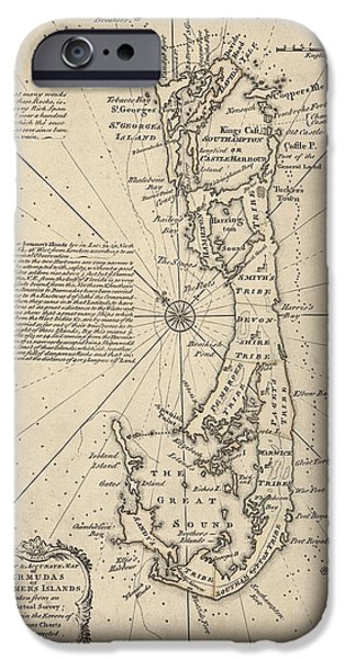 Bermudas iPhone Cases - Antique Map of Bermuda by Emanuel Bowen - 1750 iPhone Case by Blue Monocle