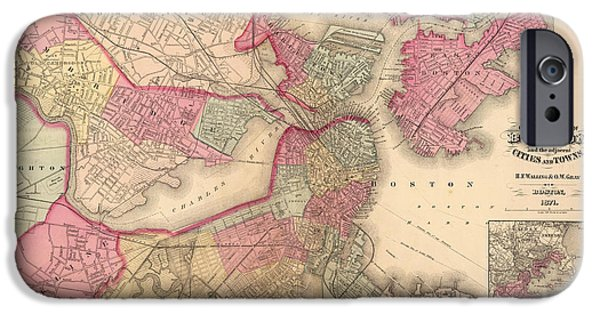 Map Of Boston iPhone Cases - Antique Map of Boston - 1871 iPhone Case by Nomad Art And  Design