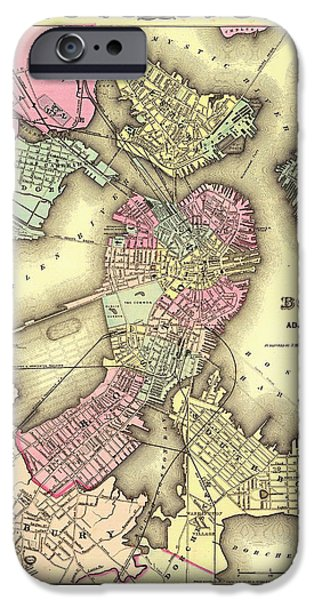City. Boston Drawings iPhone Cases - Antique Map of Boston 1855 iPhone Case by Mountain Dreams